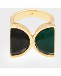 Charles & Keith Black Marble Brass Ring - Green