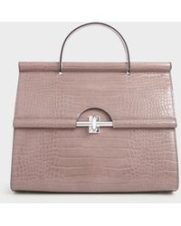 Charles & Keith Croc-effect Structured Single Top Handle Bag - Purple