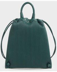 Charles & Keith Neoprene Drawstring Backpack - Green