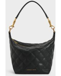 Charles & Keith Quilted Hobo Bag - Black