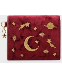 Charles & Keith Snap Button Galaxy Embellished Velvet Card Holder - Red