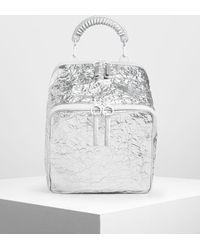 Charles & Keith Rope Handle Wrinkled Effect Metallic Backpack