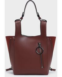 Charles & Keith Ring Zip Pocket Square Handle Trapeze Tote - Multicolor