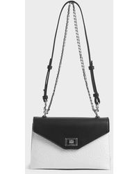 Charles & Keith Two-tone Wrinkled Effect Envelope Bag - White