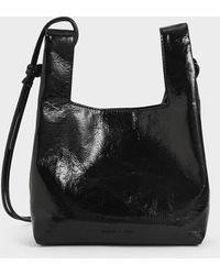 Charles & Keith Patent Square Handle Tote Bag - Black