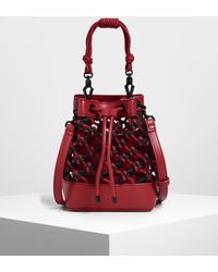 Charles & Keith Netted Drawstring Bucket Bag - Red