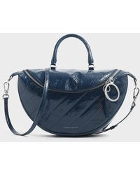 Charles & Keith Wrinkled Patent Large Semi-circle Crossbody Bag - Blue