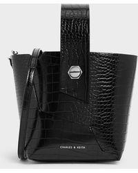 Charles & Keith Croc-effect Wristlet Handle Bucket Bag - Black