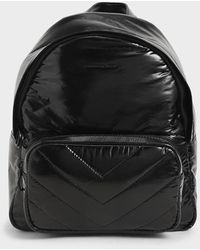 Charles & Keith Quilted Double Zip Backpack - Black