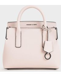 Charles & Keith Double Handle Tote Bag - Pink
