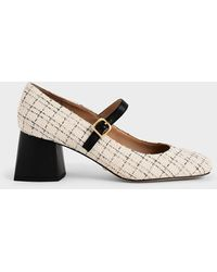 Charles & Keith Tweed & Leather Mary Janes - Natural