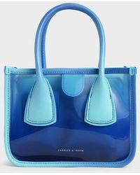 Charles & Keith See-through Effect Handbag - Blue