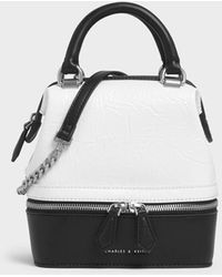 Charles & Keith Wrinkled Effect Two-way Zip Boxy Bag - White