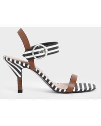 Charles & Keith - Oversized Buckle Striped Heeled Sandals - Lyst