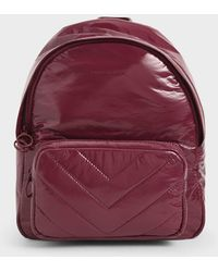 Charles & Keith Quilted Double Zip Backpack - Multicolour