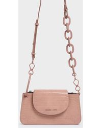 Charles & Keith Croc-effect Ring Handle Mini Front Flap Wallet - Pink