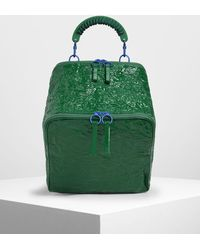 Charles & Keith Rope Handle Wrinkled Effect Patent Backpack - Green