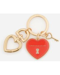 Charles & Keith Heart Lock Keychain - Red