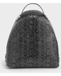 Charles & Keith Large Snake Print Dome Backpack - Grey