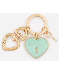 Charles & Keith Heart Lock Keychain - Metallic