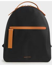 Charles & Keith Front Zip Backpack - Black