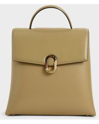 Charles & Keith Stone-embellished Backpack - Natural