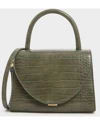 Charles & Keith Croc-effect Structured Top Handle Bag - Green