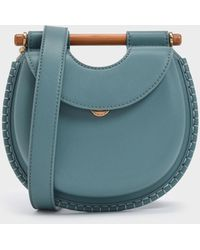Charles & Keith Wood-effect Handle Whipstitch Trim Bag - Blue
