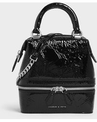 Charles & Keith Wrinkled Patent Two-way Zip Boxy Bag - Black