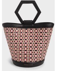 Charles & Keith Geometric Handle Woven Bucket Bag - Multicolour