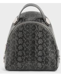 Charles & Keith Snake Print Dome Backpack - Grey