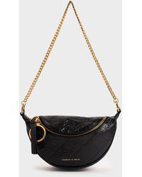 Charles & Keith Half Moon Crossbody Bag - Black