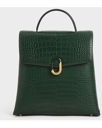 Charles & Keith Croc-effect Stone-embellished Backpack - Green