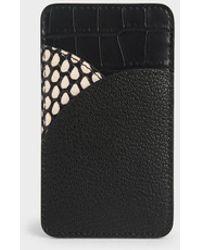 Charles & Keith Animal Print Elongated Card Holder - Black