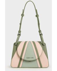 Charles & Keith Printed Circular Flap Trapeze Bag - Green