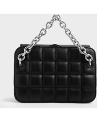 Charles & Keith Chunky Chain Strap Quilted Shoulder Bag - Black