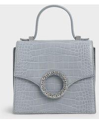 Charles & Keith Croc-effect Embellished-buckle Bag - Blue