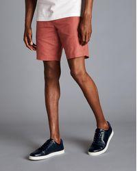Charles Tyrwhitt Cotton Linen Shorts - Red