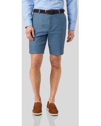 Charles Tyrwhitt Linen Cotton Shorts - Blue