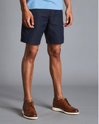 Charles Tyrwhitt Cotton Linen Shorts - Blue