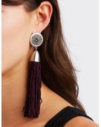 Charlotte Russe - Medallion Tassel Drop Earrings - Lyst