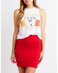 e3c5e4bbe Lyst - Charlotte Russe Bodycon Mini Skirt in Red - Save ...
