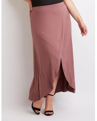fa9a6c7344 Lyst - Charlotte Russe Satin Double Slit Maxi Skirt in Red