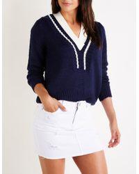 Charlotte Russe - Varsity V Neck Sweater - Lyst