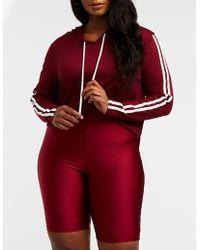 539addf58bbd2 Lyst - Charlotte Russe Plus Size Varsity Stripe High-low Hoodie