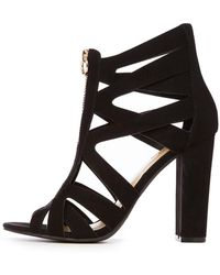 f9c09bf45c74 Lyst - Charlotte Russe Strappy Caged Metallic Heel Sandals in Black