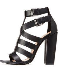 e82c6f0a048 Lyst - Charlotte Russe Caged Block Heel Sandals in Orange