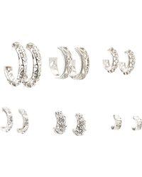 Charlotte Russe - Embellished Hoop Earrings - 6 Pack - Lyst