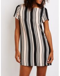 990ab5552a4 Lyst - Charlotte Russe Floral Striped Caged Shift Dress in Black