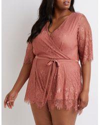09b82eca5913 Charlotte Russe - Plus Size Floral Lace Wrap Romper - Lyst